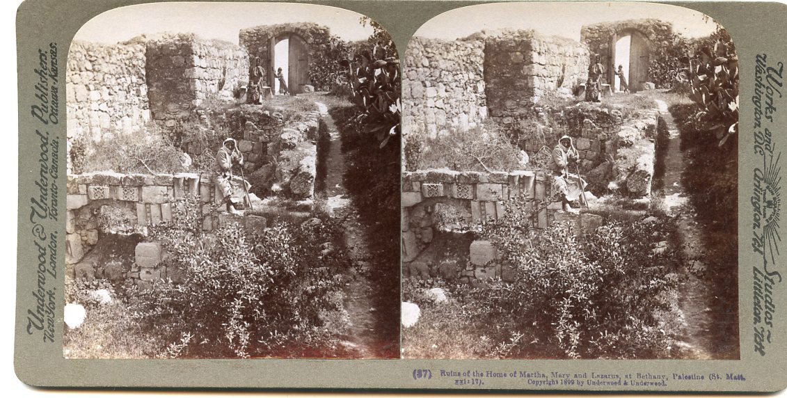 Details about RUINS HOME OF MARTHA MARY & LAZARUS BETHANY PALESTINE  STEREOVIEW 1899